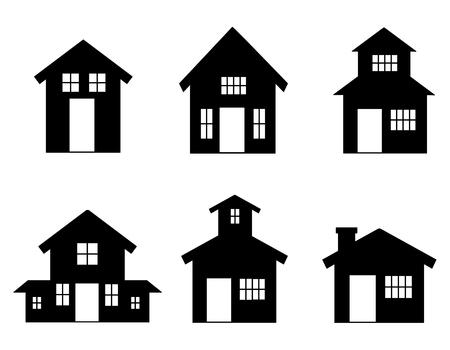 벡터 집 아이콘 컬렉션입니다. 부동산의 간단한 흑백 기호입니다. 인쇄, 웹 일러스트레이션