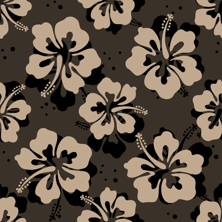 pattern: Seamless repeat pattern with hibiscus flowers Illustration