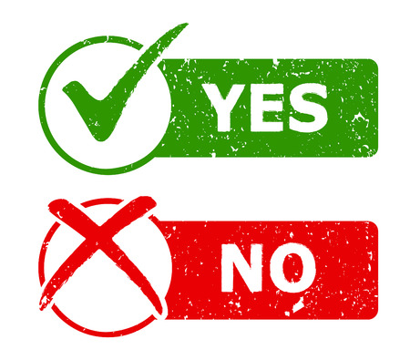 Yes and No grunge icons / web buttons. Vector illustration Иллюстрация