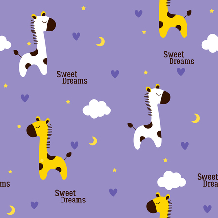 Cute baby giraffes pattern with stars moon and clouds Иллюстрация