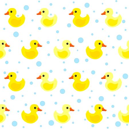 귀여운 노란색 고무 오리 원활한 패턴