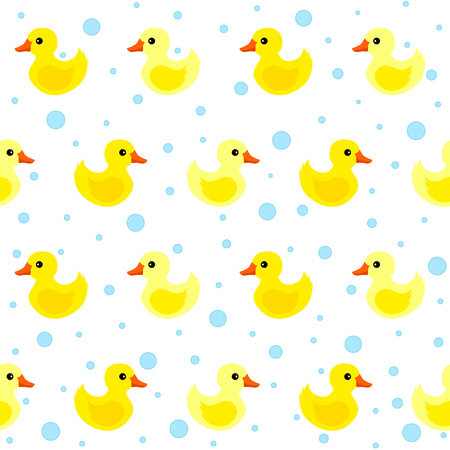 Cute yellow rubber ducks seamless pattern Illustration