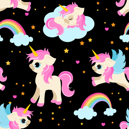 Cute unicorns seamless pattern  magical unicorns fabric pattern