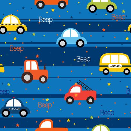 패브릭 패턴 디자인에 대 한 다채로운 장난감 차량 원활한 패턴 일러스트