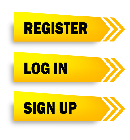 register, sign up and log in web button collection isolated on white
