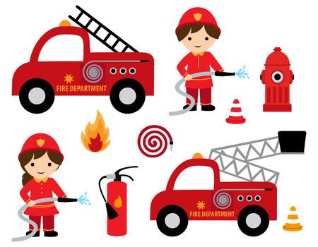 Het meisje en de jongen van de brandvechter met verschillende brand verwante cliparts pictograminzameling