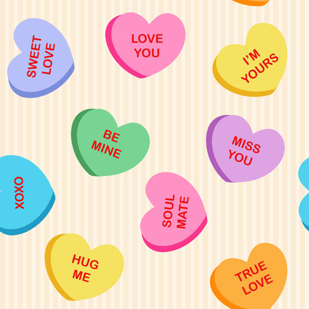 Seamless heart candy fabric / textile pattern for Valentine's Day with candies different color in the shape of hearts on a light background Ilustração