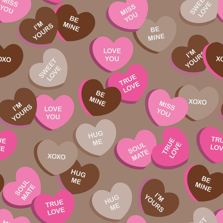 confection: Seamless fabric  textile pattern for Valentines Day with candies different color in the shape of hearts on a light background