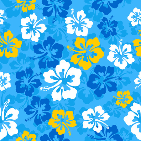 Seamless repeat pattern with hibiscus flowers Vettoriali