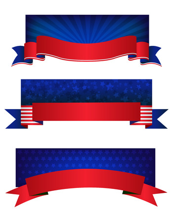 4th of july USA patriotic web header  banner collection on white background