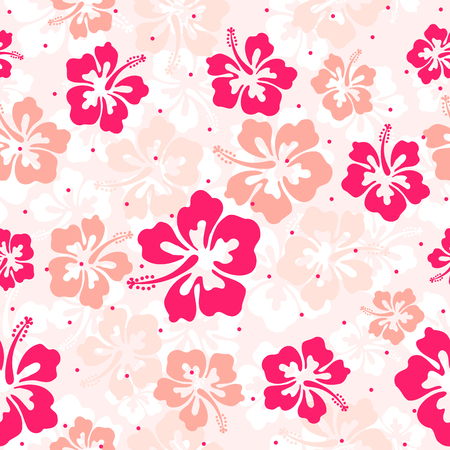Seamless repeat pattern with hibiscus flowers Иллюстрация