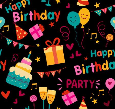 귀여운 생일 그래픽으로 다채로운 생일 파티 배경입니다.
