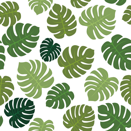 Beautiful vector palm leaves  monstera seamless pattern Иллюстрация