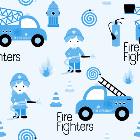 Firefighters seamless pattern with fire related icons specially for fabric patterns Illustration