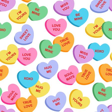 Seamless corazón tejido de caramelo / patrón de textiles para el Día de San Valentín con caramelos color diferente en la forma de corazones sobre un fondo claro Ilustración de vector