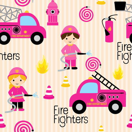 Girly firefighters cute pink seamless pattern with fire related icons specially for fabric patterns