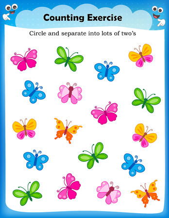 Kids worksheet with counting exercises | count and separate into lots of two s