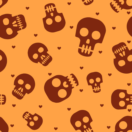 Cute human skulls seamless pattern Иллюстрация