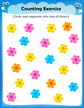 Kids worksheet with counting exercises | count and separate into lots of three s