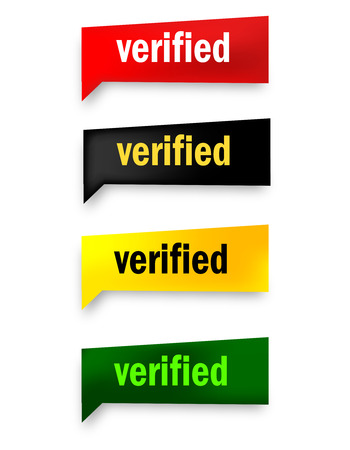 verified 3d realistic paper speech bubble  web button collection isolated on white Иллюстрация
