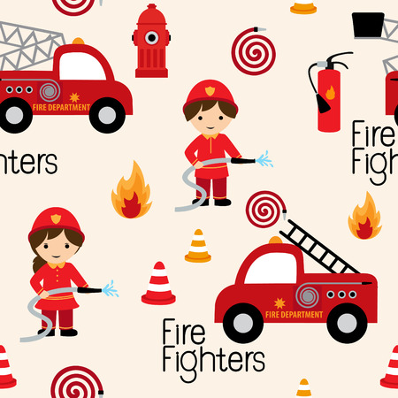 Firefighters seamless pattern with fire related icons specially for fabric patterns Иллюстрация