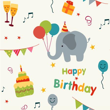 귀여운 코끼리와 생일 그래픽 다채로운 생일 파티 배경.