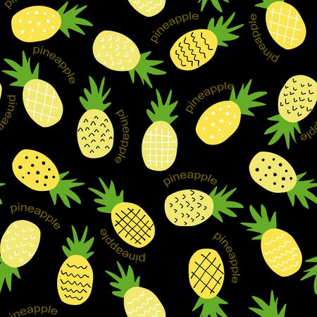원활한 파인애플 패턴  섬유 직물 또는 벽지 배경에 대한 귀여운 파인애플 낙서 패턴
