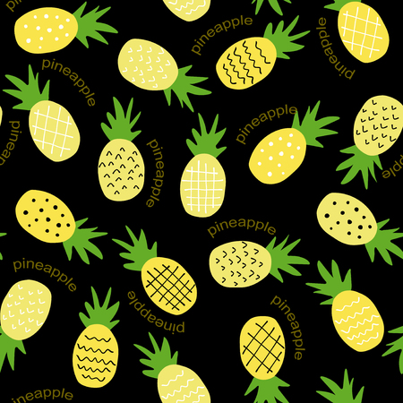 Seamless pineapple pattern  cute pineapple doodle pattern for textile fabric or wallpaper backgrounds Иллюстрация