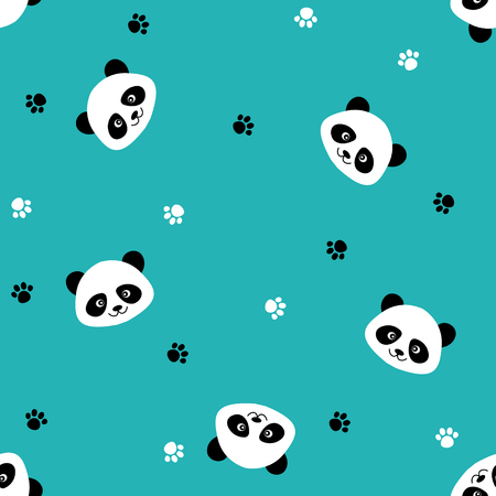 원활한 귀여운 만화 팬더 패턴 일러스트