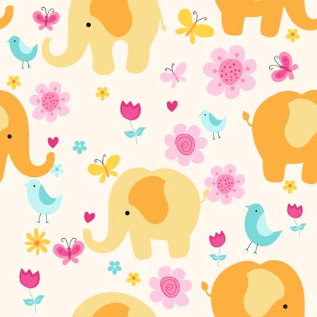 다채로운 코끼리, 꽃, 나비 및 조류 봄 배경 일러스트