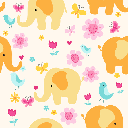 Colorful elephants , flowers, butterflies and birds spring background