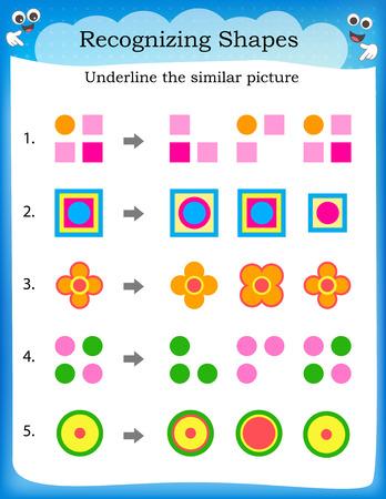 Kids worksheet recognize  find similar shape and underline Иллюстрация
