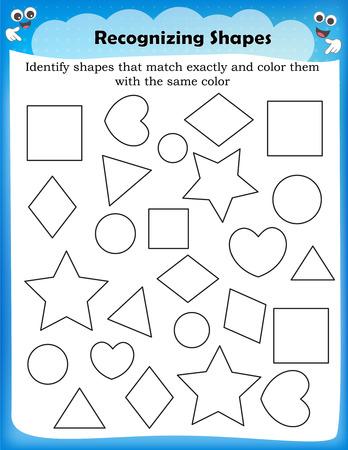 Kids worksheet identifying different shapes