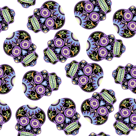 아름 다운 설탕 두개골 원활한 패턴 일러스트