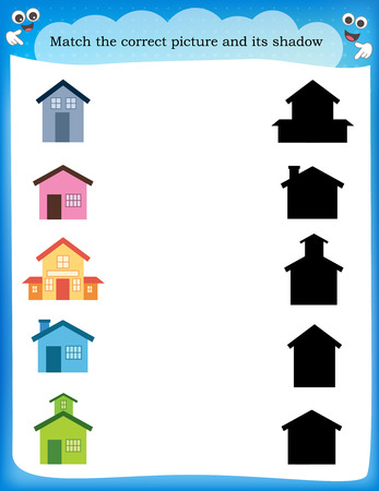 educational material: Worksheet recognizing shapes | Draw a line to match houses and their correct shadow Illustration