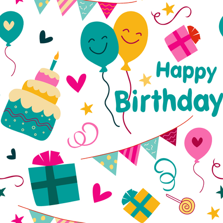 Colorful birthday party background with cute birthday graphics.