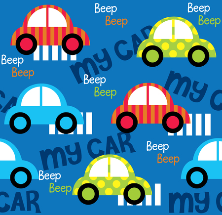 Colorful toy cars seamless pattern for fabric pattern designs Иллюстрация