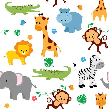 귀여운 동물 패브릭 꽃과 나비와 함께 원활 하 게 패턴.