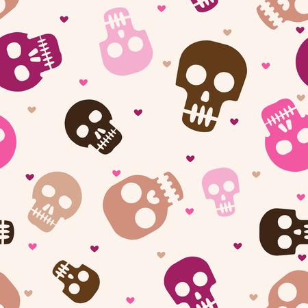 귀여운 인간의 두개골 원활한 패턴 일러스트