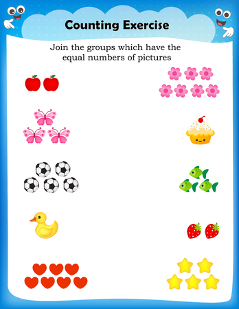 educational material: Kids worksheet with counting exercises | count and match equal numbers of pictures Illustration