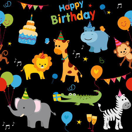 Colorful birthday party background with cute animals and birthday graphics. Иллюстрация
