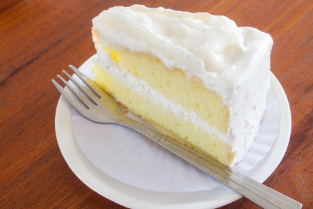 young coconut  whipped with vanilla chiffon cake Stock Photo