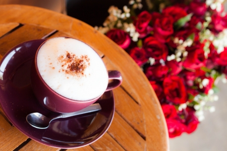 Romantic breakfast coffee and with red rose photo