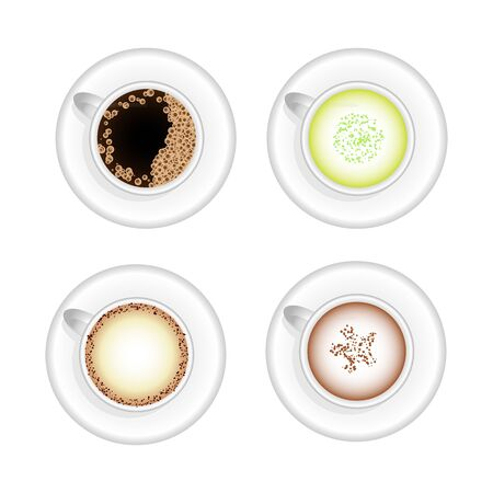 Set of hot drinks  cups with americano, cappuccino, green tea latte and chocolate Illustration