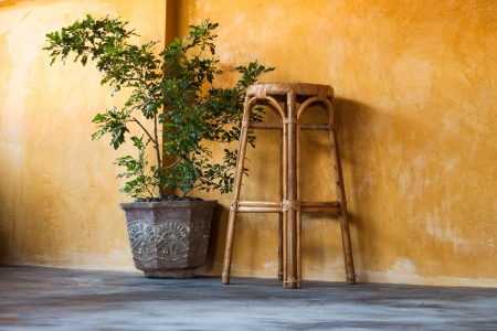 Simple interior design scene with rattan chair and  small tree on yellow wall