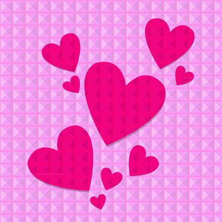 shocking: Shocking pink hearts on pink rivets background, vector illustration Illustration