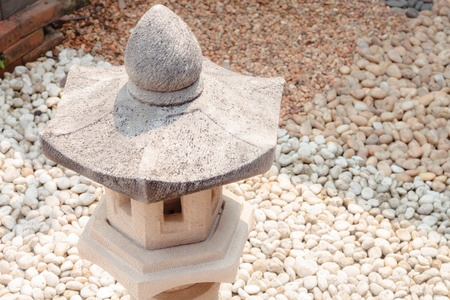 Mini pavillion rock lamp in home garden photo
