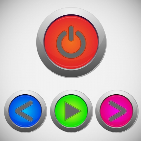 Set of player sign buttons, illustration Vector