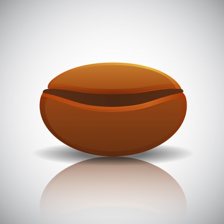 Roasted coffee bean with reflection, illustration Vector