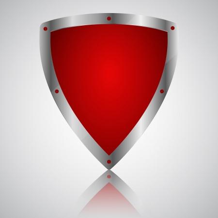 Victory red shield symbol icon, illustration